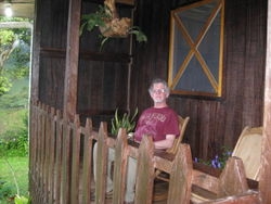On the porch of the cabana in Bijagua
