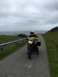 Phil on Single Track road, Gribun, Isle of Mull